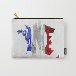 France Typographic World Map / France Typography Flag Map Art Carry-All Pouch