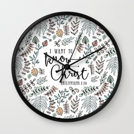 """""""I Want to Know Christ"""" Bible Verse - Color Wall Clock"""