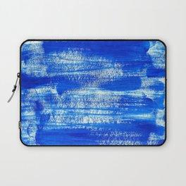 Cool & Calming Cobalt Blue Paint on White  Laptop Sleeve