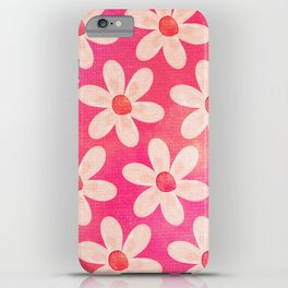 Watercolor Daisies in Pink iPhone Case