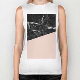 Black Marble and Pale Dogwood Color Biker Tank