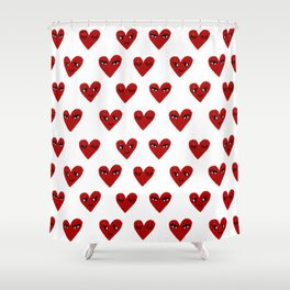 Heart love valentines day gifts hearts with faces cute valentine Shower Curtain
