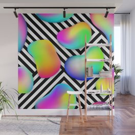multi-colored bubbles and fluid shapes Wall Mural