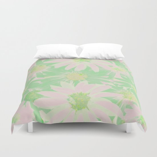 Soft Painterly Pink and Green Floral Abstract Duvet Cover