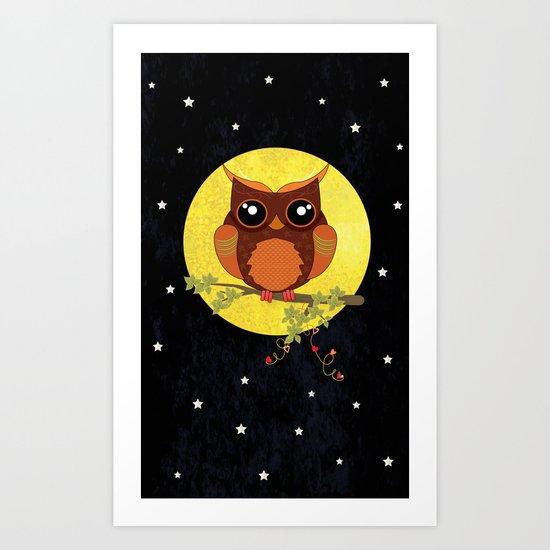 Autumn Owl Sitting On A Tree. Art Print