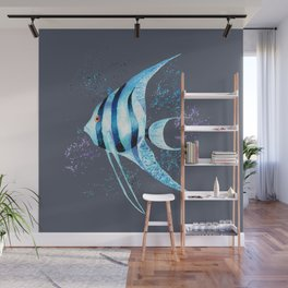 Watercolor Blue Fish Illustration Wall Mural