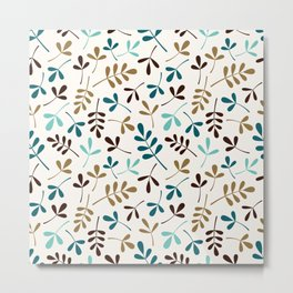 Assorted Leaf Silhouettes Teals Brown Gold Cream Ptn Metal Print
