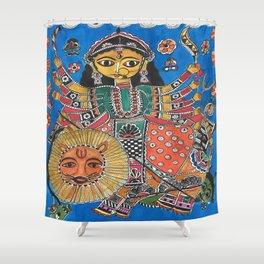 Madhubani - Blue Durga Shower Curtain