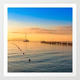 minimalist seascape with rocks & ship Art Print