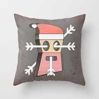 merry christmas Throw Pillows featuring Merry christmas by AmDuf