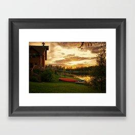 Sunset at Lakeside Lodge Framed Art Print