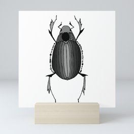 Egyptian Scarab Beetle Gray Black Mini Art Print