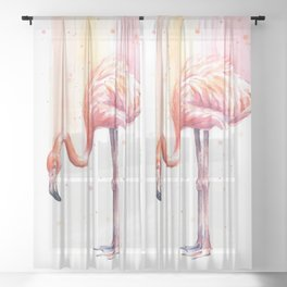Flamingo Watercolor Flamingo Painting Sheer Curtain