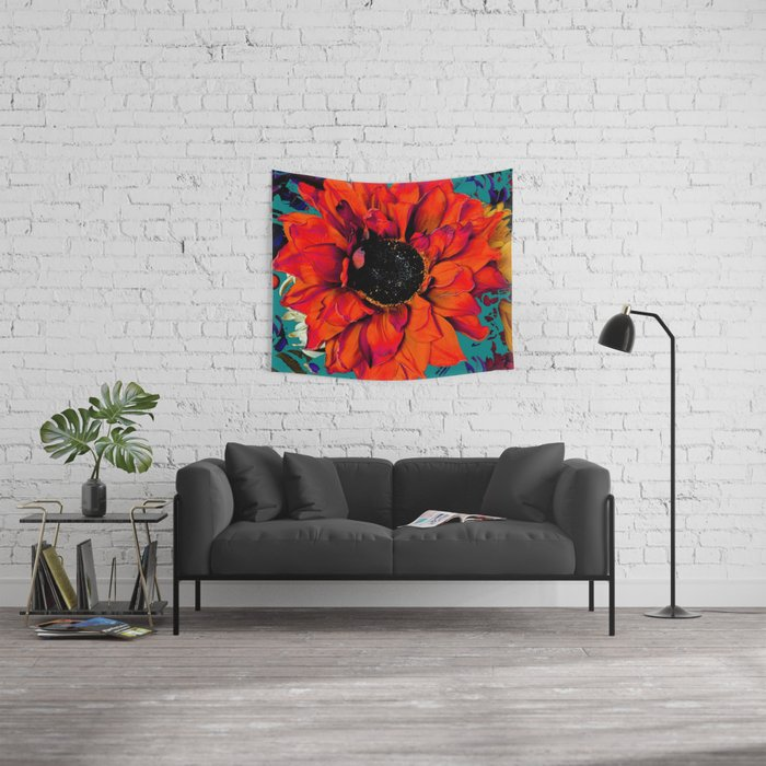 Orange Sunflower & Teal Contemporary Abstract Wall Tapestry