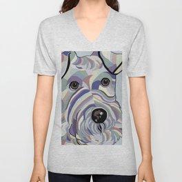 Wire Hair Terrier Denim Colors Unisex V-Neck