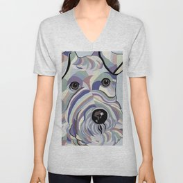 Wire Hair Terrier Denim Colors Unisex V-Neck