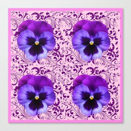 PINK ART &  LILAC PURPLE PANSY SPRING FLORAL PATTERN Canvas Print