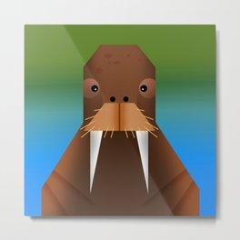 Geometrical Walrus Metal Print