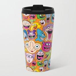 Creepy Smiles Pattern Metal Travel Mug