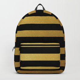 Black Gold Bold Horizontal Stripes Backpack