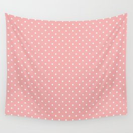 Classic White Small Polka Dot Spots on Blush Pink Wall Tapestry