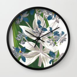 Cochliostema Jacobianum Spiderwort Blue Flower color lithograph Wall Clock