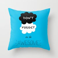 tfios Throw Pillows featuring DFTBA TFIOS Nerdfighter Vlogbrothers Don't Forget to be Awesome, The Fault in Our Stars, John Green by Corrie Jacobs