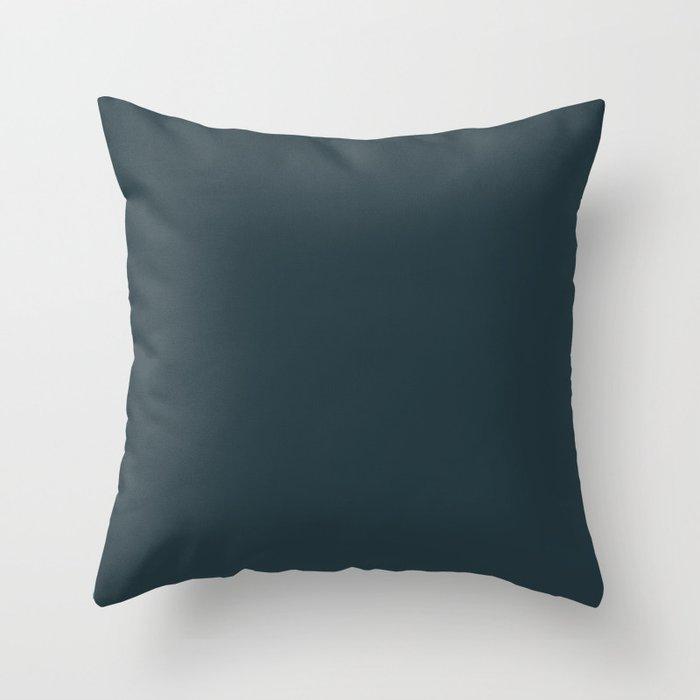 Sherwin Williams Trending Colors of 2019 Dark Night (Dark Aqua Blue) SW 6237 Solid Color Throw Pillow