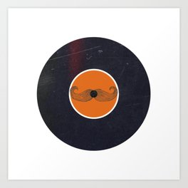 Vinyl Record Art & Design   Handlebar Mustache Art Print