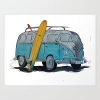 vw bus Art Prints featuring VW Bus by AshyGough
