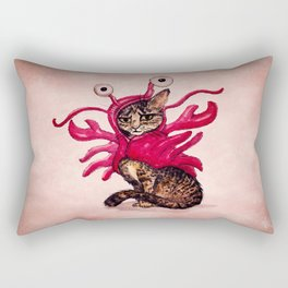 """Ma'ama Lisa"" by Amber Marine ~ Lobster Cat, Watercolor and Ink, (c) 2015 Rectangular Pillow"