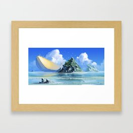 The Golden Whale Framed Art Print