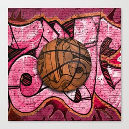 Pink Basketball Graffiti on Brick Wall Canvas Print