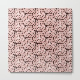 Pink Abstract Flower Pattern Metal Print
