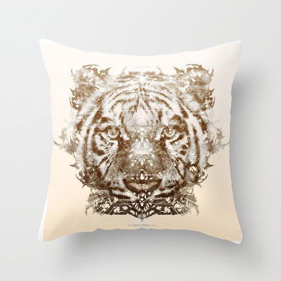 The White Tiger (Gold Version) Throw Pillow