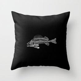 Spooky Fish Skeleton Print Illustration Throw Pillow