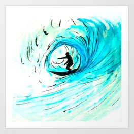 Surfer in blue Art Print