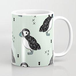Cute Icelandic Puffin birds mint pattern Coffee Mug