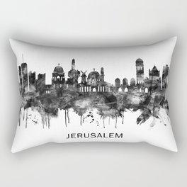 Jerusalem Israel Skyline BW Rectangular Pillow