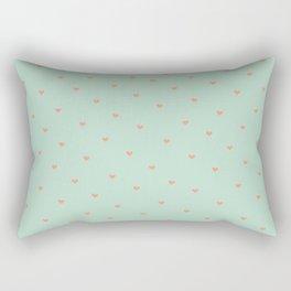 Mint Hearts Rectangular Pillow