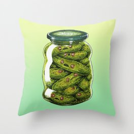 EVIL PICKLES IN A JAR Throw Pillow