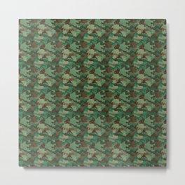 Small Military Army Green and Khaki Brown Camo Camouflage Print Metal Print