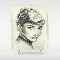 audrey hepburn Shower Curtains featuring Audrey Hepburn by Creadoorm