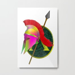 Spartan Helmet Colorful Metal Print