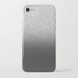 Modern faux silver glitter ombre grey black color block iPhone Case