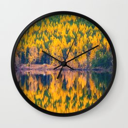 Lake Reflections in the Fall Wall Clock