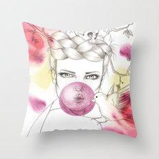 Bubble Birdie Throw Pillow