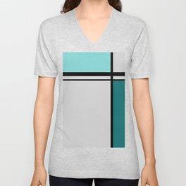 Cross Lines in turquoises Unisex V-Neck