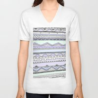 tribal V-neck T-shirts featuring Tribal by Fay Newman