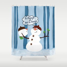 Funny Snowman Holiday Design Shower Curtain